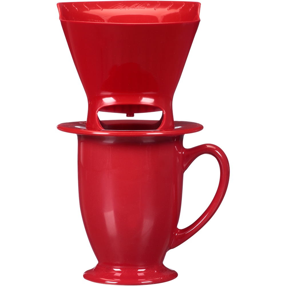 1-Cup Pour-Over Coffee Brew Cone & Ceramic Mug Set - Red