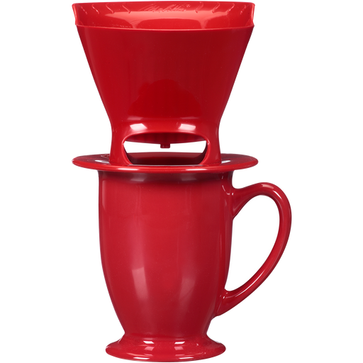 1-Cup Pour-Over™ Coffee Brew Cone & Ceramic Mug Set - Red hover