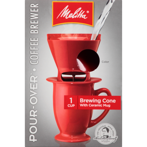 1-Cup Pour-Over™ Coffee Brew Cone & Ceramic Mug Set - Red main