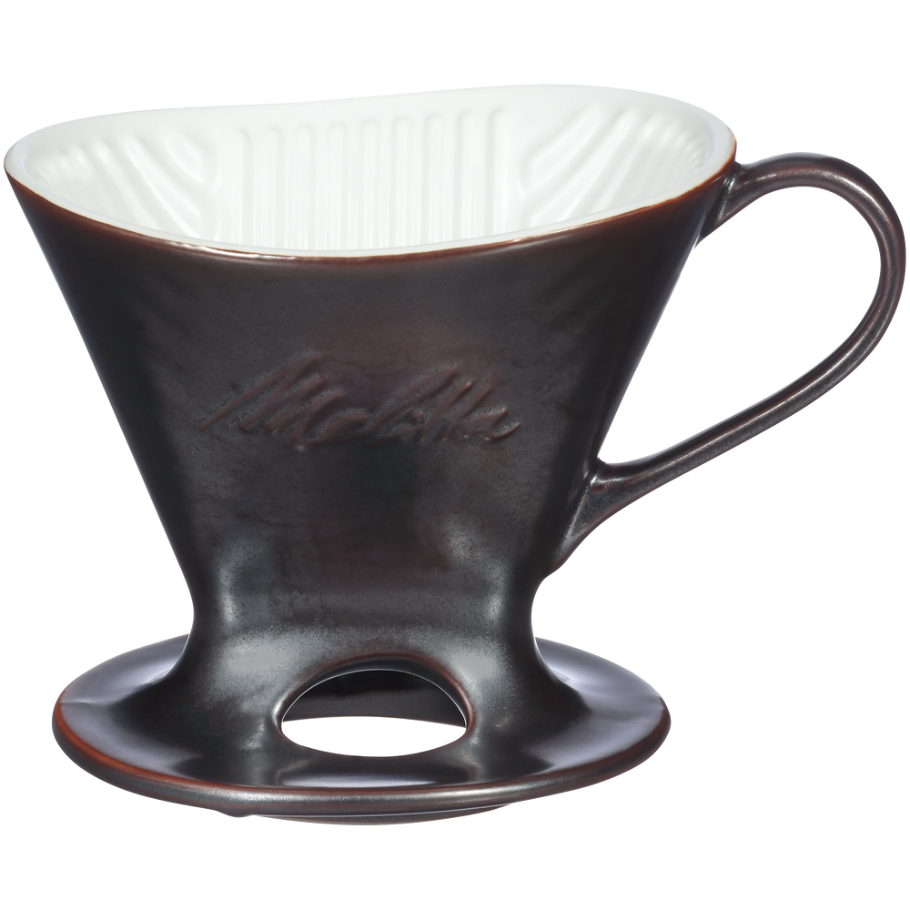 Signature Series 1-Cup Pour-Over Coffeemaker - Porcelain With Metallic Finish, Gunmetal
