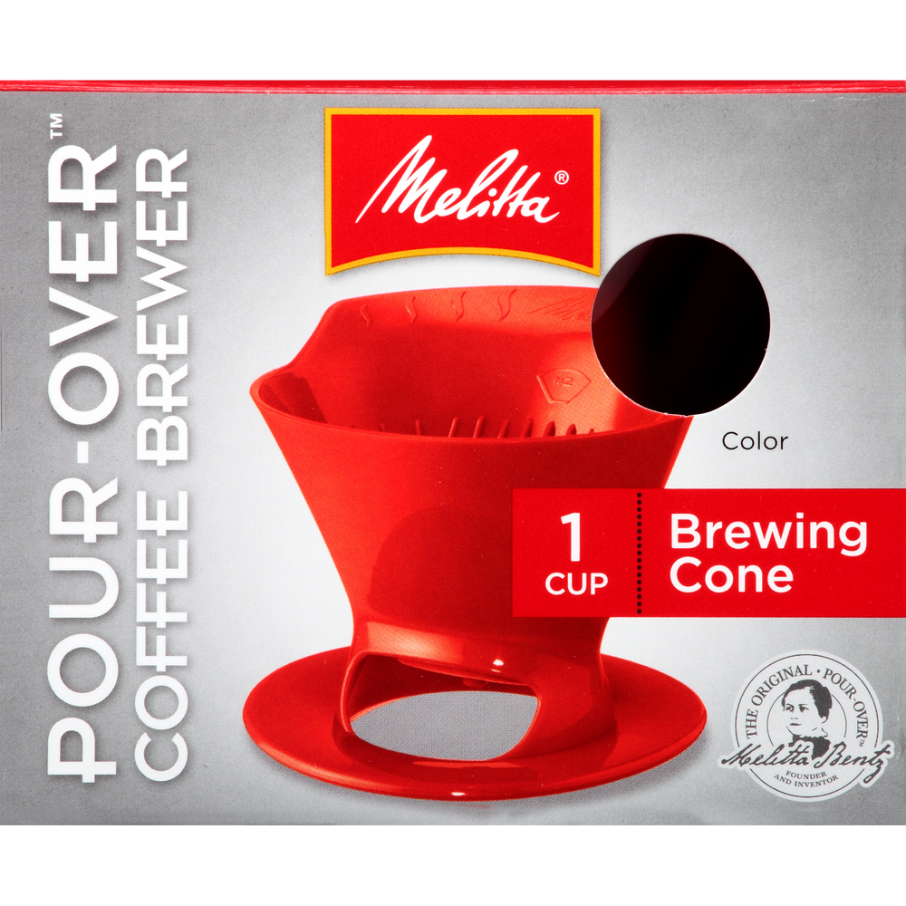 1-Cup Pour-Over Coffee Brew Cone - Red