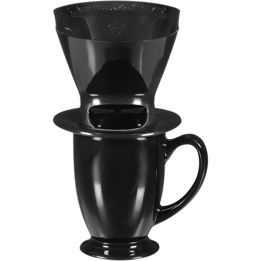 1-Cup Pour-Over™ Coffee Brew Cone & Ceramic Mug Set - Black hover