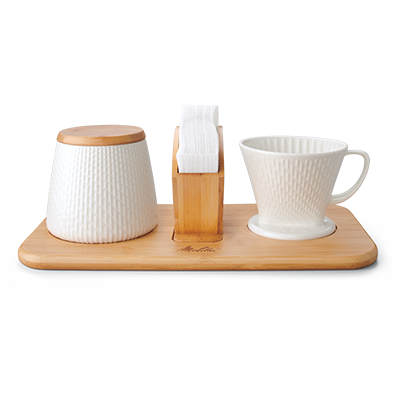 Artisan Porcelain Pour-Over Coffeemaker/Canister Set - White hover