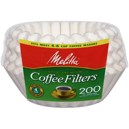 4-6 Cup Basket Filter Paper White - 200 Count
