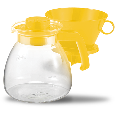 Pour-Over Coffeemaker & Glass Carafe Set (52oz) - Yellow