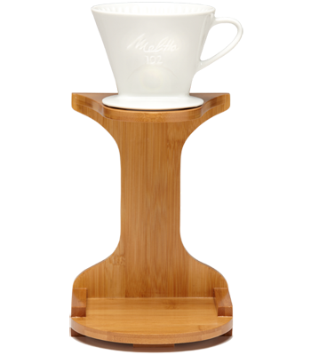 1-Cup Porcelain Pour-Over™ Coffeemaker with Bamboo Brewing Stand