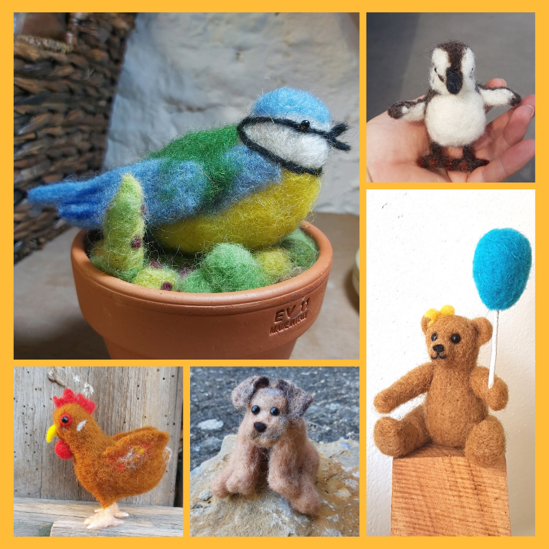 Craft Workshop Saturday 14th August 2021: Introduction to needle felting making a woodland creature or bird, or other small animal (beginners or improvers)