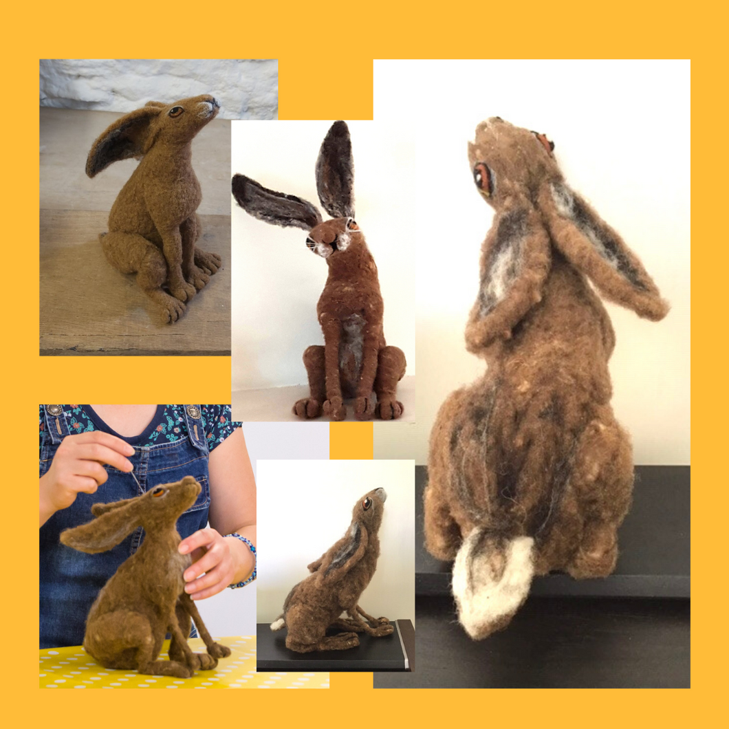 Craft Workshop Sunday 8th August 2021: Mastersterclass Needle Felted armature (wired) moon-gazing hare (intermediate level)