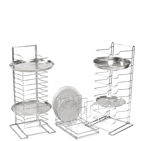 "Pizza Pan Stack Rack 15X1.5"" Slots Chrome"