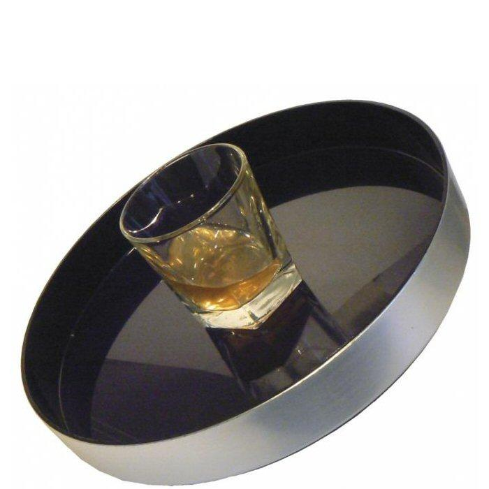 Non Slip Brushed Aluminium Effect Black Tray