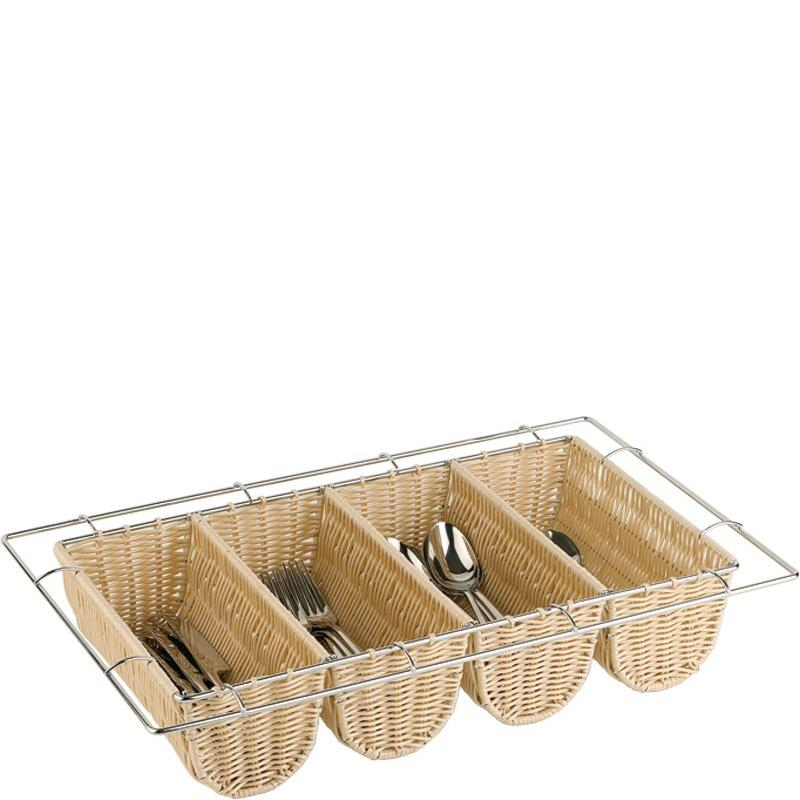 Poly Rattan Cutlery Basket Natural