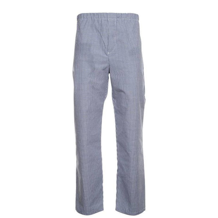 Tibard Elasticated Gingham Blue/White Chefs Trousers