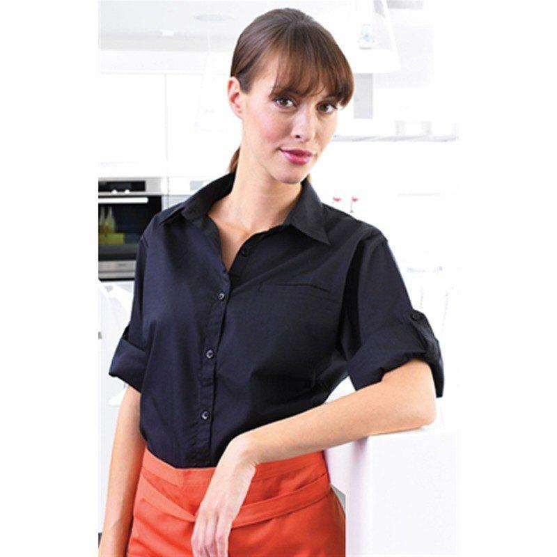 Tibard Ladies Roll Sleeve Poplin Blouse