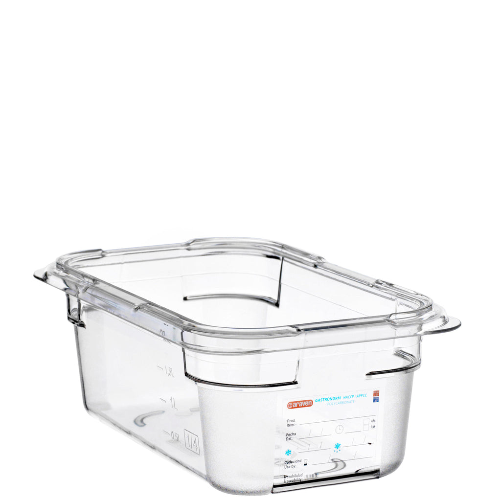 Araven 1/4 Airtight Gastronorm Container Polycarbonate