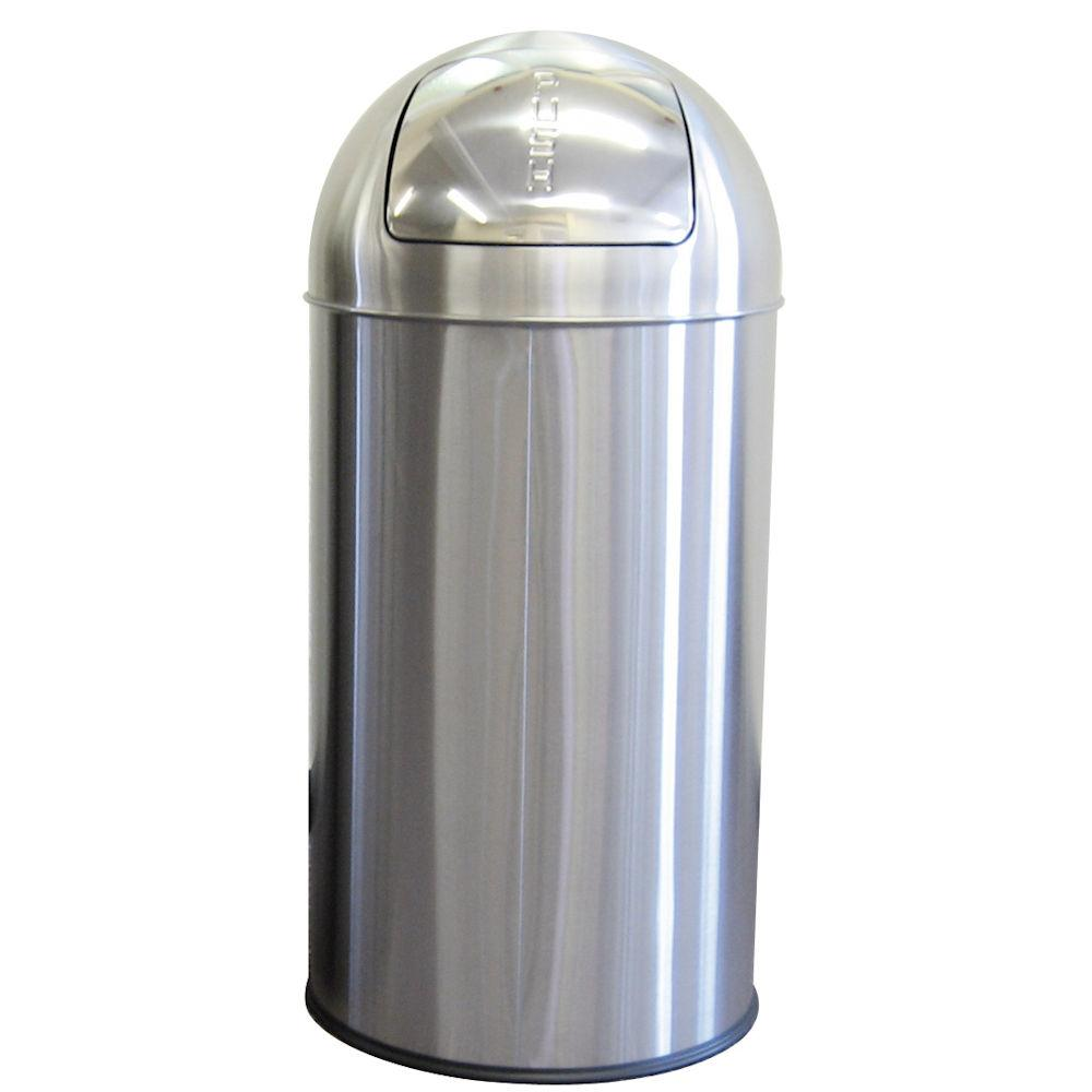 50 litre Self Close Push Bin Stainless Steel