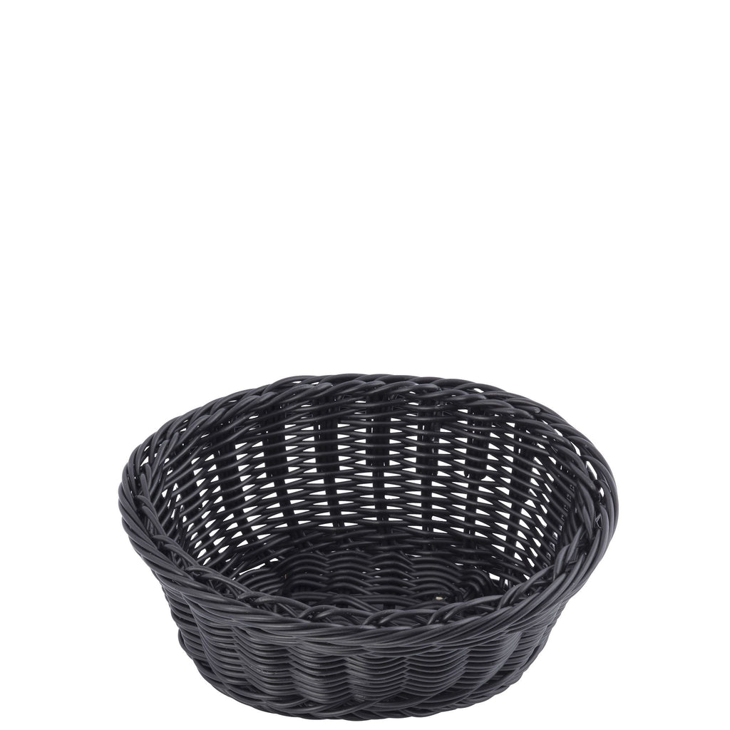 Round Black Double Weave Polywicker Basket