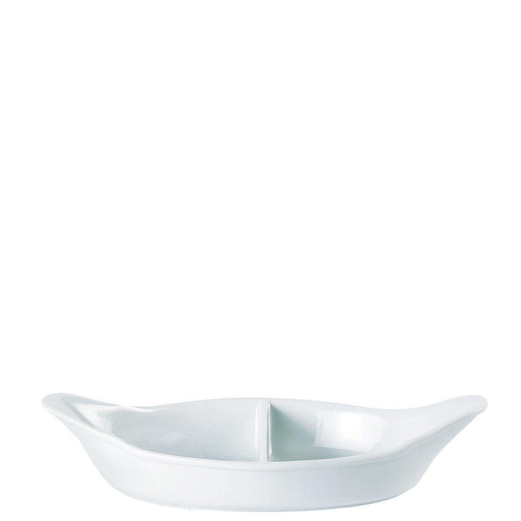 White Oval Eared Divided Dish