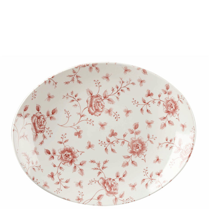 Churchill Vintage Prints Oval Plate Cranberry Rose Chintz