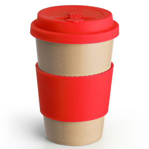 Reusable Rice Husk Hot Cup with Red Lid & Sleeve