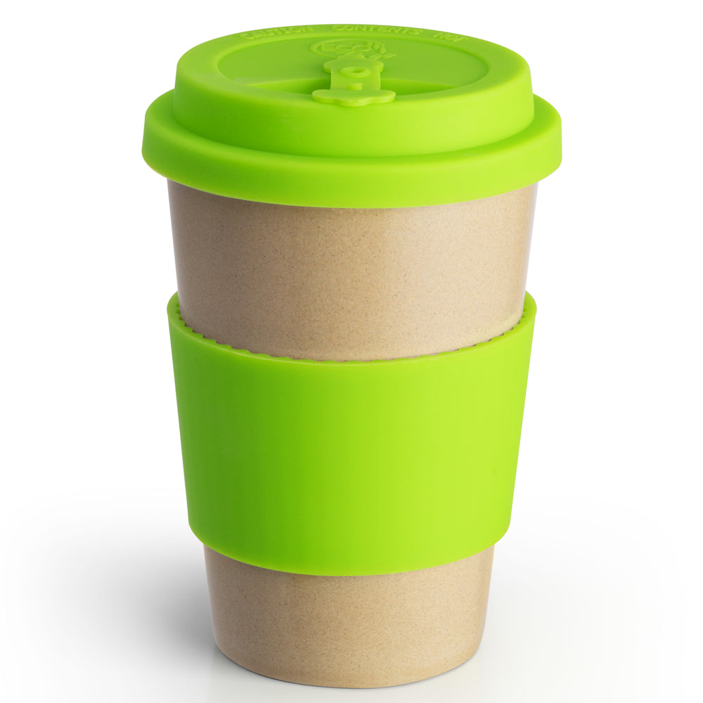 Reusable Rice Husk Hot Cup with Green Lid & Sleeve