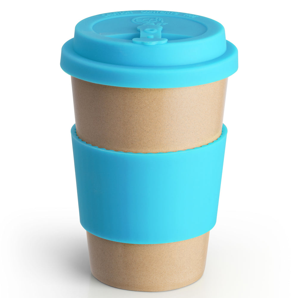 Reusable Rice Husk Hot Cup with Blue Lid & Sleeve
