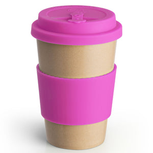 Reusable Rice Husk Hot Cup with Purple Lid & Sleeve