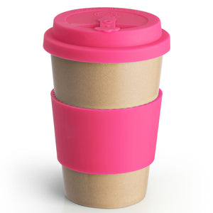 Reusable Rice Husk Hot Cup with Pink Lid & Sleeve