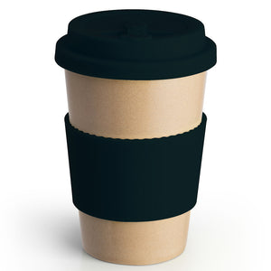 Reusable Rice Husk Hot Cup with Black Lid & Sleeve
