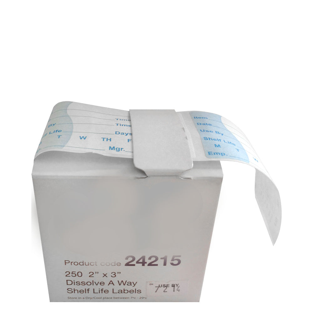 Dissolvable Shelf Life Label in Dispenser Box