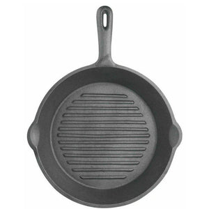 Black Cast Iron Round Fat free Grill Pan