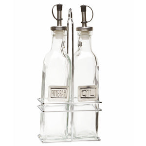 Square Glass Oil & Vinegar Bottles with Chrome Stand
