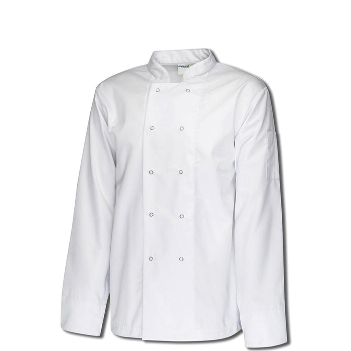 Bidfood White Long Sleeve Chefs Jacket - Pack of 5