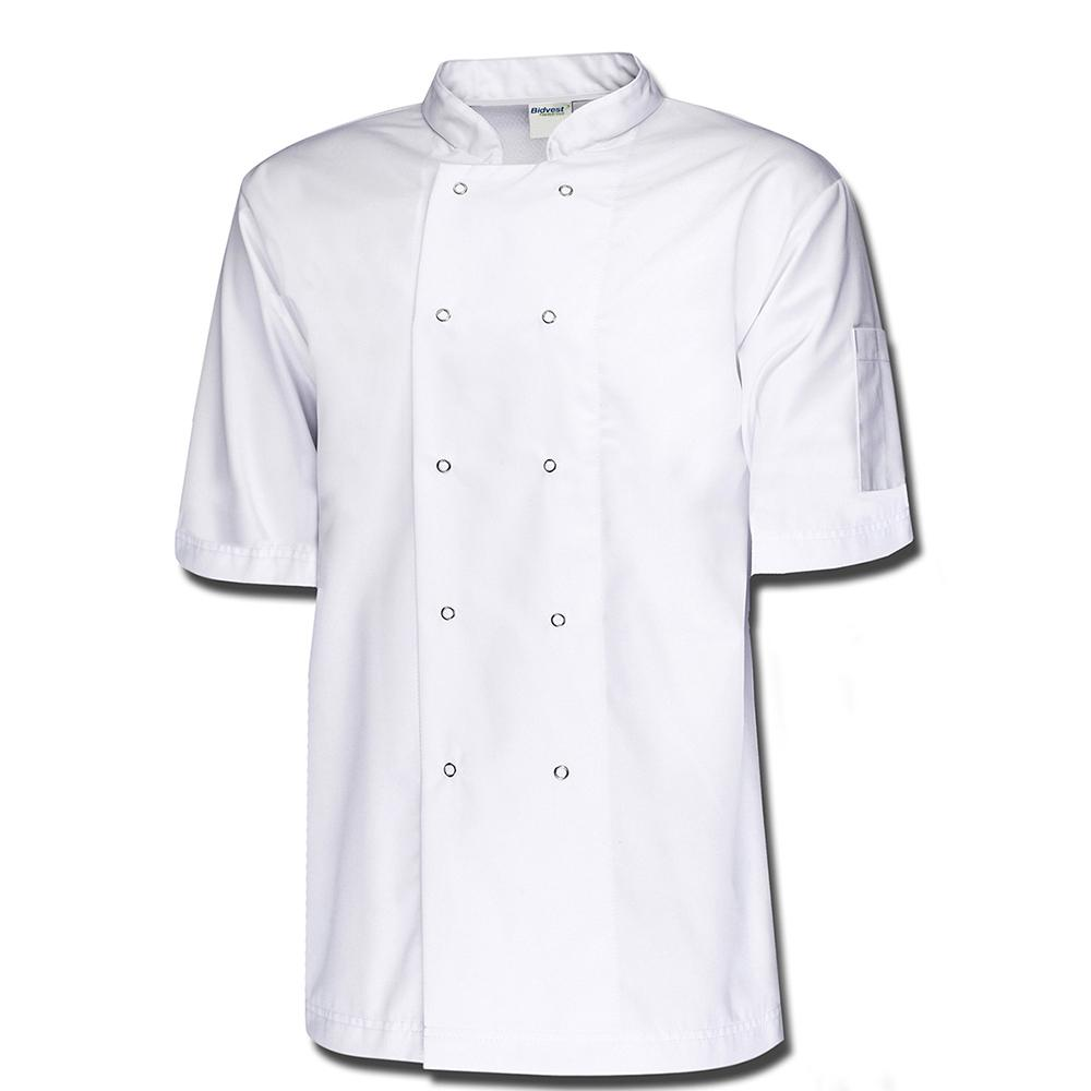 Bidfood White Short Sleeve Chefs Jacket - Pack of 5