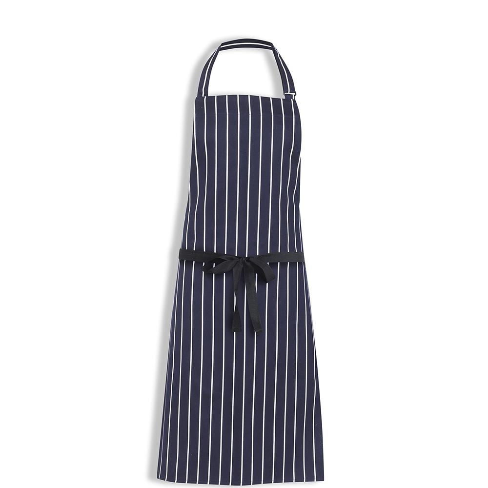 Bidfood Navy/White Stripe Butchers Bib Apron - Pack of 2