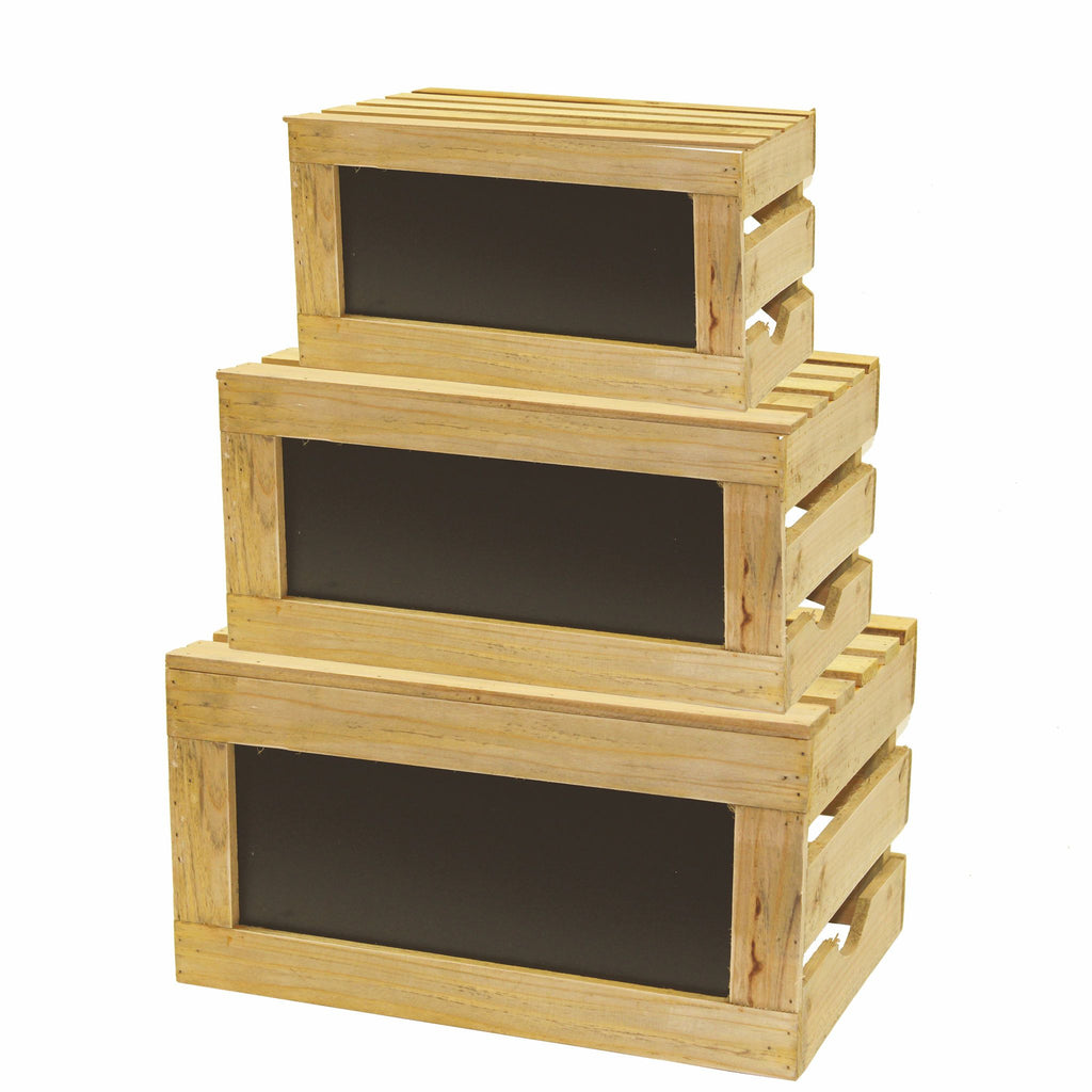3 Piece Chalkboard Natural Wood Crate Riser Set