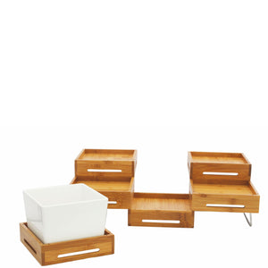 Expandable Riser Set with Legs Natural Wood
