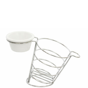 Chip Cone with Ramekin Holder Stainless Steel
