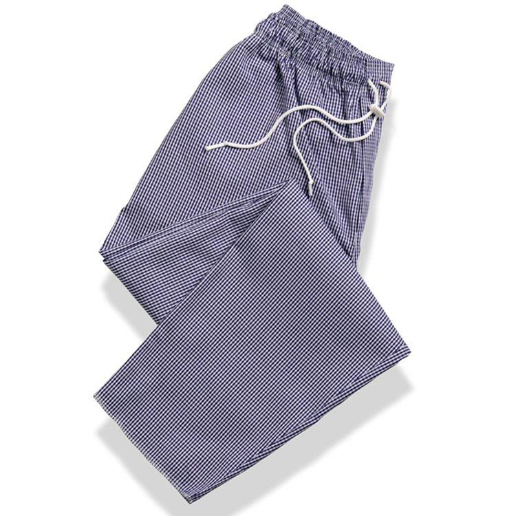 Tibard Gingham Blue/White Chefs Drawstring Trousers