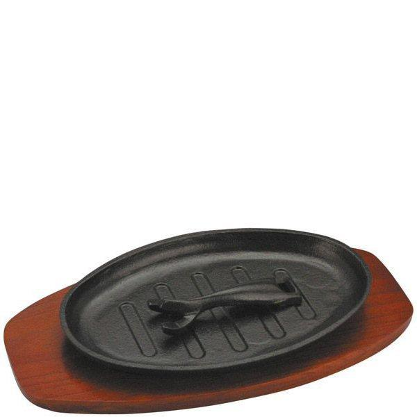 Cast Iron Ribbed Sizzle Platter with Wood Trivet