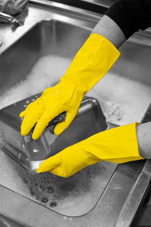 Household Yellow Latex Rubber Gloves