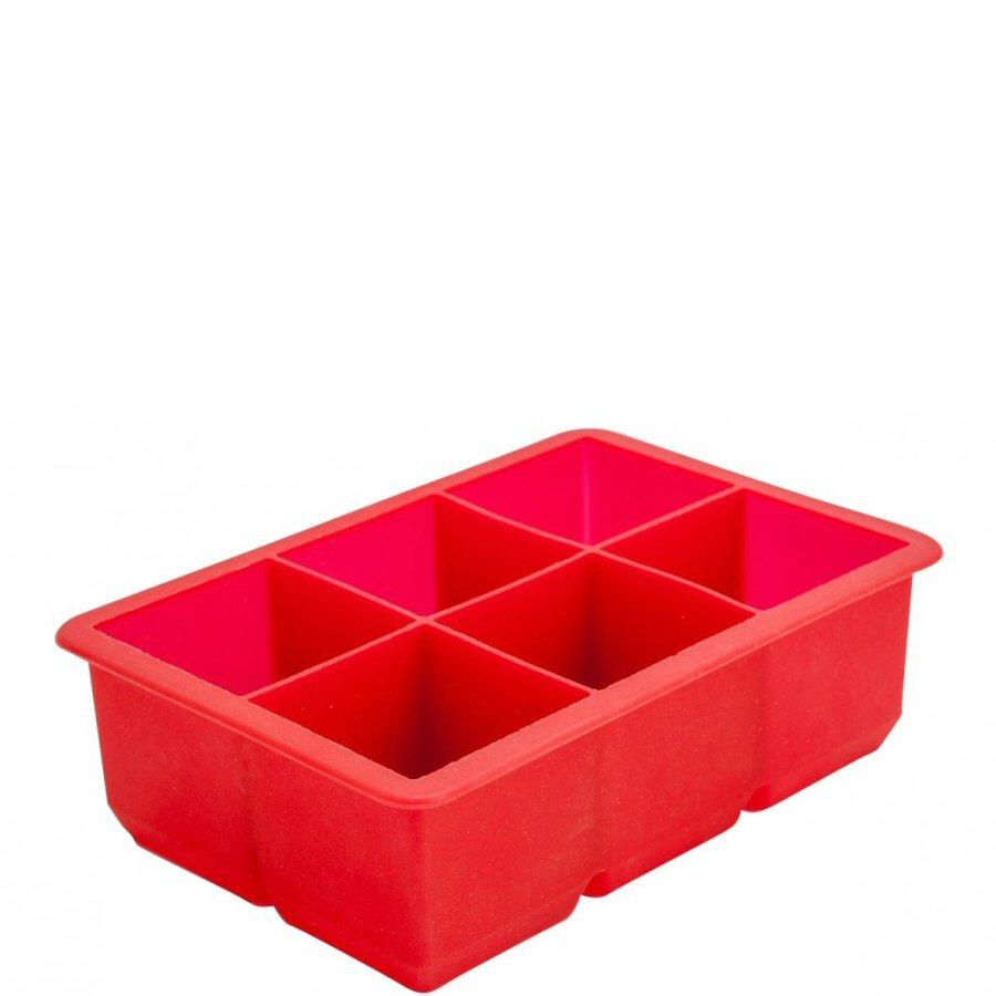 6 Section Red Silicone Ice Mould 2""