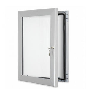 Satin Silver Menu and Poster Lockable Outdoor Display Case