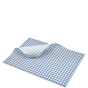 Greaseproof Paper Blue Gingham Print