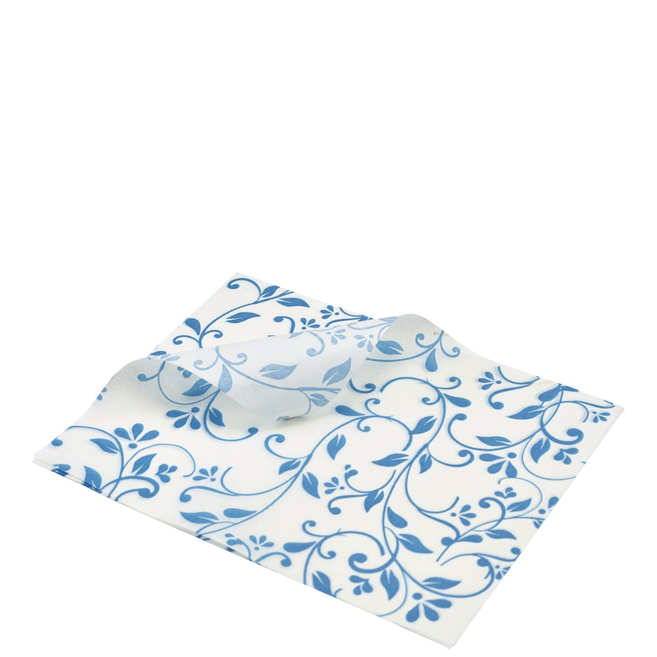 Greaseproof Paper Blue Floral Print