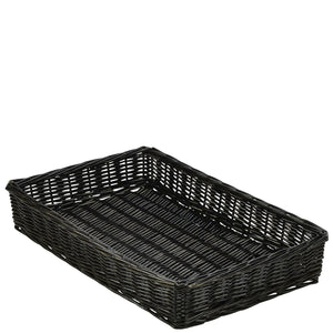 Black Rectangular Wicker Basket