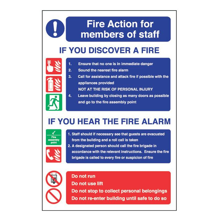 Sign Fire Action Safety Plan For Staff Bidfood