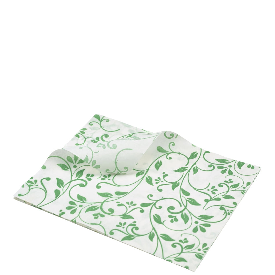 Greaseproof Paper Green Floral Print