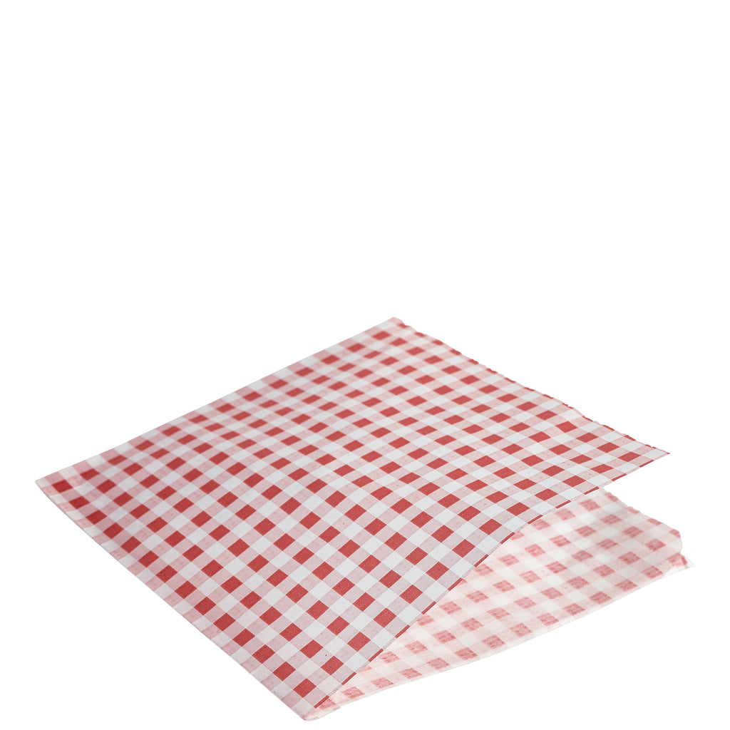 Greaseproof Paper Bags Red Gingham Print