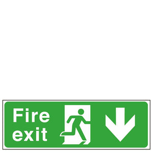 Sign - Fire Exit Man Right Down Arrow
