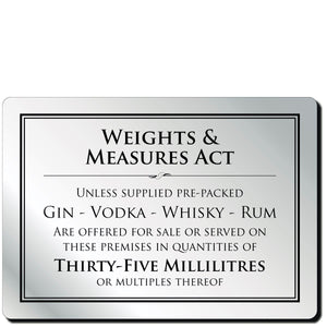 Weights & Measures Act 35ml Bar Notice in Silver
